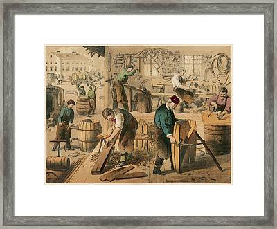 The Workshop Of A Cooper Or  Barrel Framed Print by Mary Evans Picture Library
