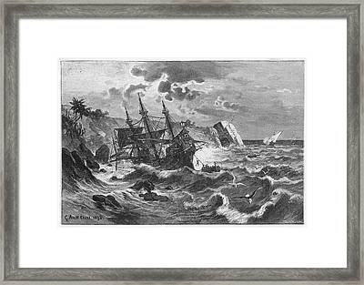 The Wreck Of The Caravel  'santa Framed Print by Mary Evans Picture Library