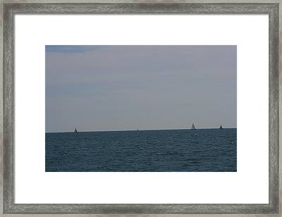 Four Yachts At Sea Framed Print by Phoenix De Vries