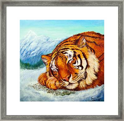 Framed Print featuring the painting  Tiger Sleeping In Snow by Bob and Nadine Johnston