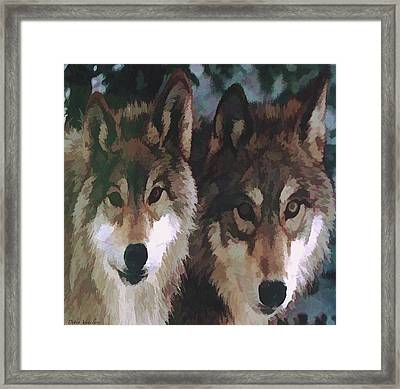 Together Forever Wolves Framed Print by Debra     Vatalaro