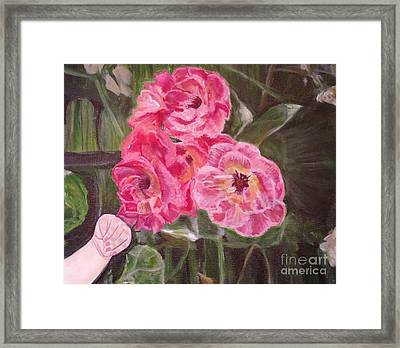 Framed Print featuring the painting  Touch Of The Roses Painting by Kimberlee Baxter