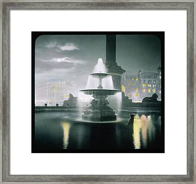Trafalgar Square At Night  Showing Framed Print by Mary Evans Picture Library