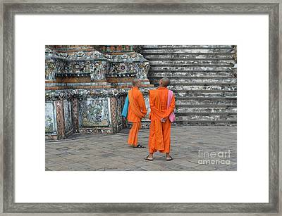 Two Monks Framed Print by Michelle Meenawong