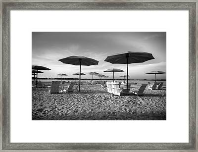 Umbrellas On The Beach Framed Print