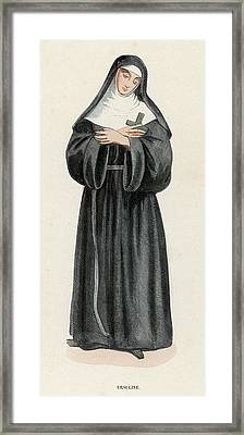 Ursuline Nun Devoted To Saint Ursula Framed Print by Mary Evans Picture Library