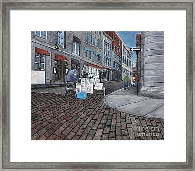 Vendeur Sur La Rue Vieux Montreal Framed Print