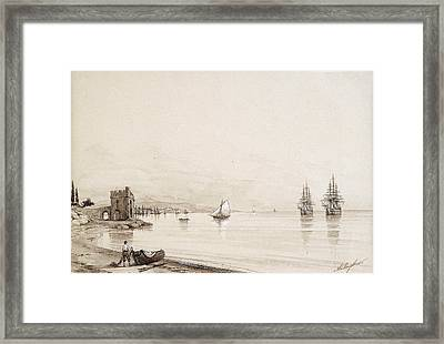 View Of A Bay With Numerous Sailing-ships. Feodosia Framed Print by Ivan Konstantinovich Aivazovsky