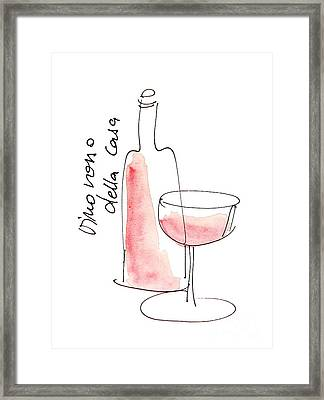 Vino Rosso Della Casa Framed Print by Karin Stein