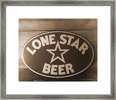 Vintage Sign Lone Star Beer Framed Print