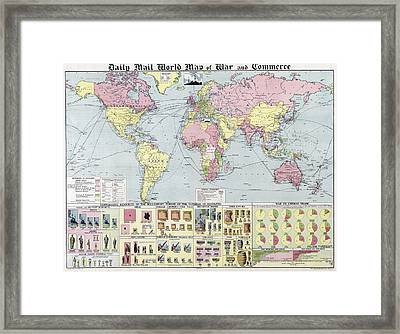 W W 1 World Map Of War And Commerce 1917 Framed Print