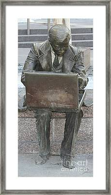 Framed Print featuring the photograph  Wall Street Memorial Statue by John Telfer