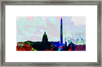 Washington Dc City Skyline 2 Framed Print by Naxart Studio