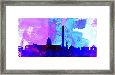 Washington Dc City Skyline Framed Print by Naxart Studio