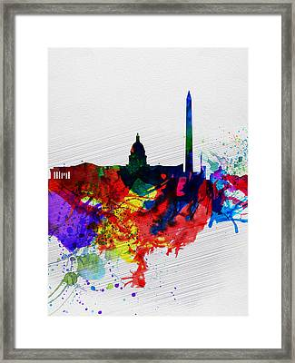 Washington Dc Watercolor Skyline 1 Framed Print by Naxart Studio