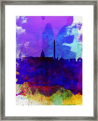 Washington Dc Watercolor Skyline 2 Framed Print by Naxart Studio