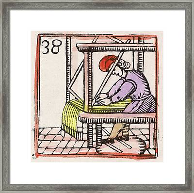 Weaving On A Loom         Date 17th Framed Print by Mary Evans Picture Library