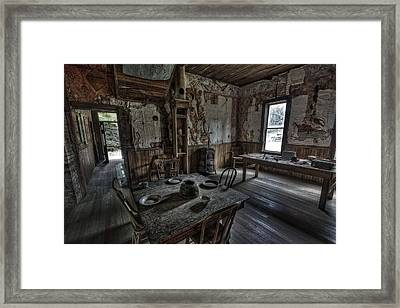 Wells Hotel Dining Room - Garnet Ghost Town - Montana Framed Print by Daniel Hagerman