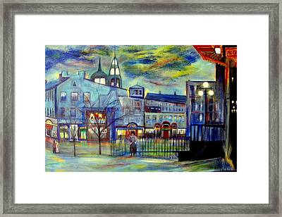 When Night Falls   Quebec City Framed Print by Rick Todaro