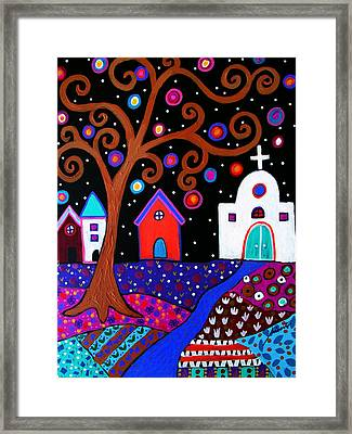 Whimsical Town Framed Print by Pristine Cartera Turkus