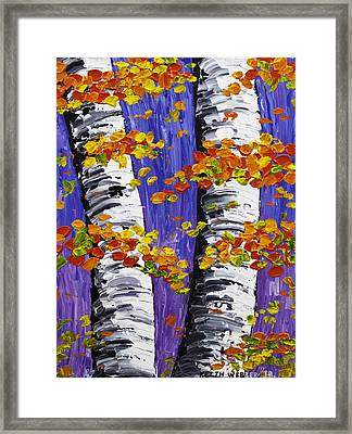 White Birch Trees In Fall On Purple Background Painting Framed Print by Keith Webber Jr
