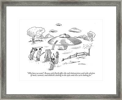 Why Have We Come?  Because Only Earth Offers Framed Print by Michael Maslin
