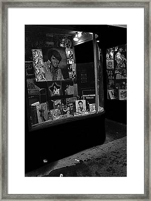 Framed Print featuring the photograph  Window Display Night Of Elvis Presley's Death Recordland Portland Maine  1977 by David Lee Guss