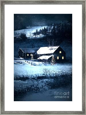 Snow Scene Of A Farmhouse At Night/ Digital Painting Framed Print by Sandra Cunningham