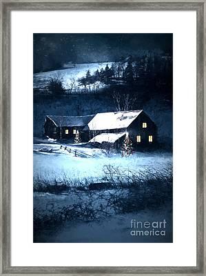 Snow Scene Of A Farmhouse At Night/ Digital Painting Framed Print