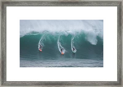 Winter Surf Waimea Bay Hawaii Framed Print