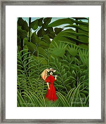 Woman In Red In The Forest Framed Print
