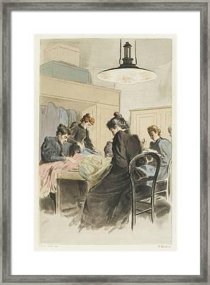Women Working In A  Dressmakers' Framed Print