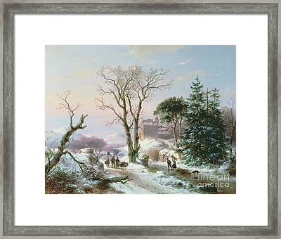 Wooded Winter River Landscape Framed Print by  Andreas Schelfhout