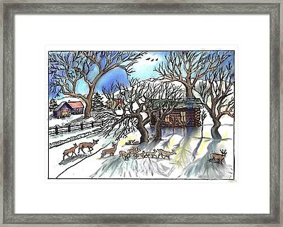 Wyoming Winter Street Scene Framed Print