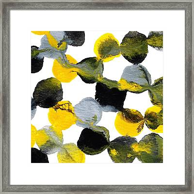 Yellow And Gray Interactions 1 Framed Print by Amy Vangsgard