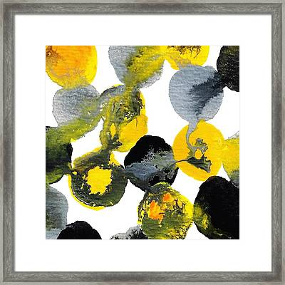 Yellow And Gray Interactions 2 Framed Print