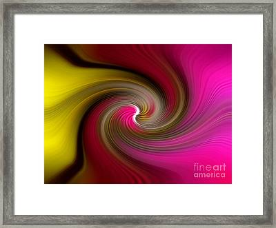 Yellow Into Pink Swirl Framed Print