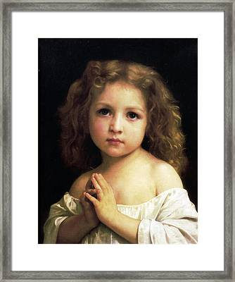 Young Girl Child Praying Framed Print by William Bouguereau