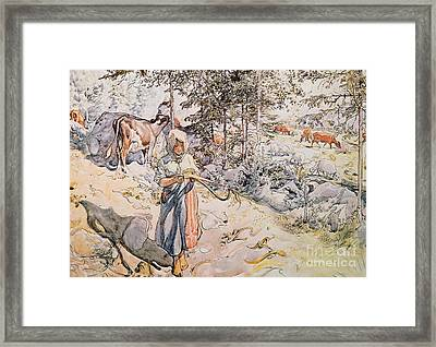 Young Girl Weaving Framed Print