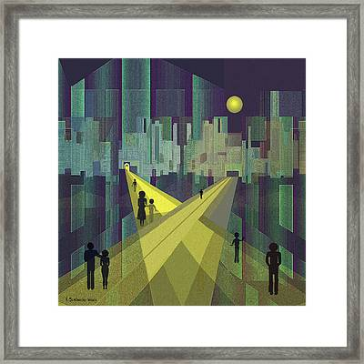 003 - Nightwalking  To A Distant City Framed Print by Irmgard Schoendorf Welch