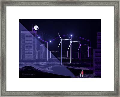 005 - Blue  Nightwalk Framed Print by Irmgard Schoendorf Welch