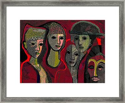 006 - Women And Masks ...  Framed Print