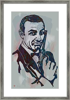 007 James Bond - Stylised Etching Pop Art Poster Framed Print by Kim Wang