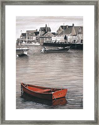 Red Boat Framed Print by Todd Bachta