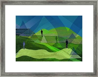 009 - Men In Landscape   Framed Print by Irmgard Schoendorf Welch