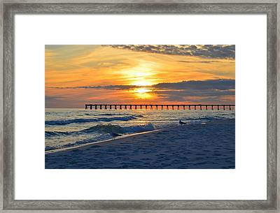 0108 Sunset Colors Over Navarre Pier On Navarre Beach With Gulls Framed Print by Jeff at JSJ Photography