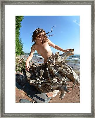 0114 Windswept Nude In Nature  Framed Print