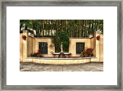 Small Fountain And Reflection Pool Framed Print