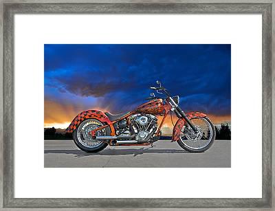 02 Hd Custom Bike Framed Print by Dave Koontz
