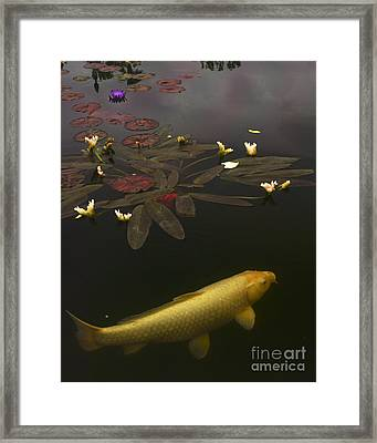 0212 Yellow Koi Framed Print by Lawrence Costales